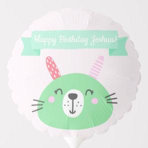 Happy Birthday! | Cute Green Bunny Kids Birthday Balloon