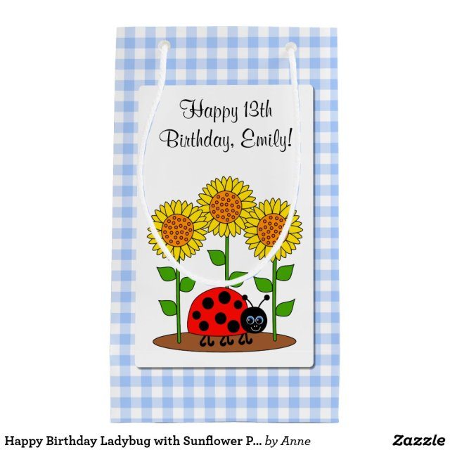 Happy Birthday Ladybug with Sunflower Personalised