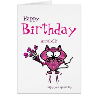 Happy birthday (name) cat holding flowers on card