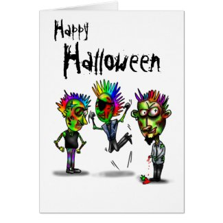 Happy Halloween with 3 zombies illustration
