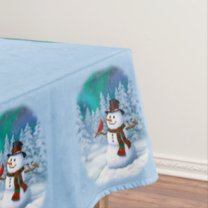 Happy Snowman and Winter Birds Tablecloth