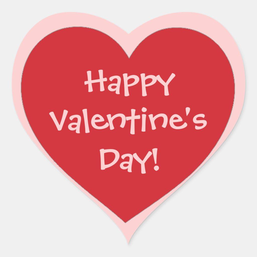 Happy Valentine's Day Heart Stickers