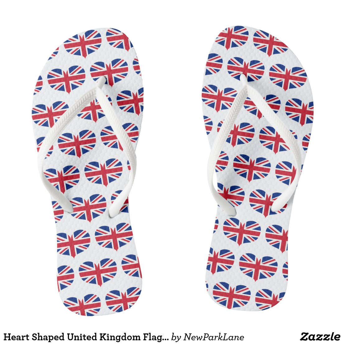Heart Shaped United Kingdom Flag / Union Jack Flip Flops