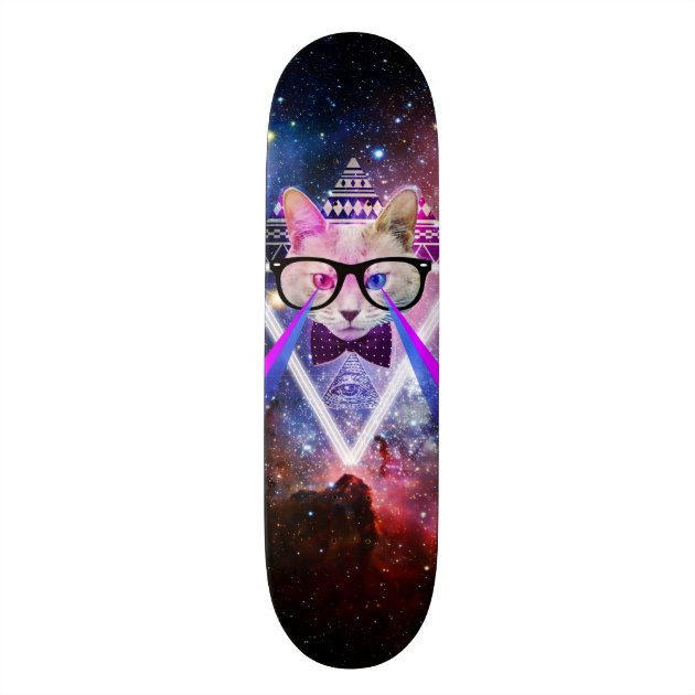 Hipster Galaxy Cat Skateboard Decks