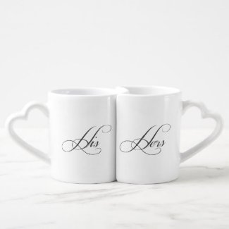 His and Hers Cursive Typography Couples Love Mugs
