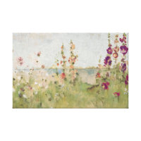 Hollyhocks by the Sea Canvas Print