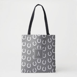 Horse Shoe Monogram Grey Tote Bag