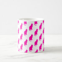 Hot Pink Cat Pattern Cats Texture White Coffee Mug