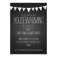 Housewarming Party Hearts Bunting Black Card