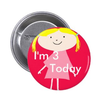 I'm 3 today little girl pink badge