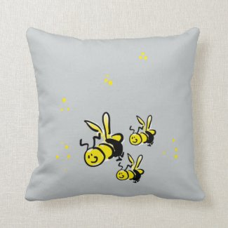 I'm Buzzing three bees on blue background cushion