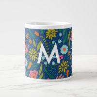 Initial monogram floral Jumbo Mug