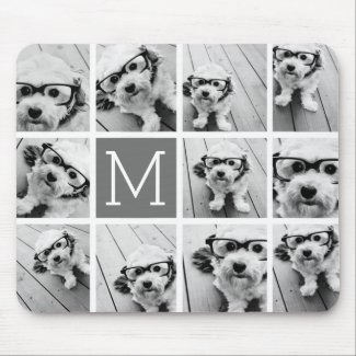 Instagram Photo Collage Custom Monogram Charcoal Mouse Mat