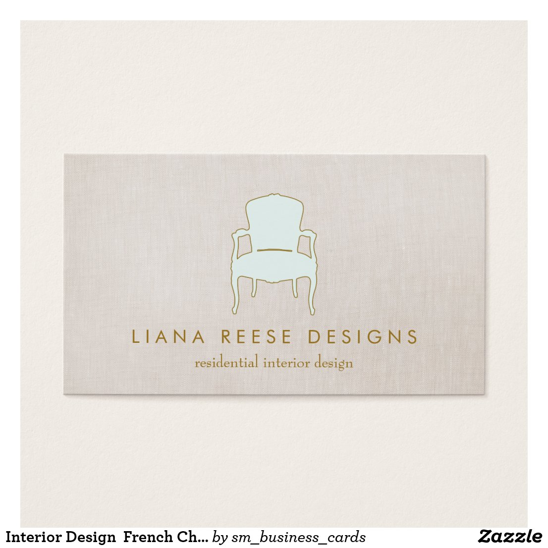 Interior designer business cards personalised business cards interior design french chair logo faux linen reheart Image collections