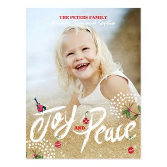 Joy Peace Gold Christmas | Holiday Photo Card Postcard
