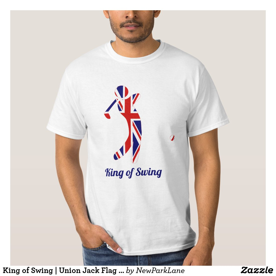 King of Swing | Union Jack Flag Golfer Silhouette T-Shirt