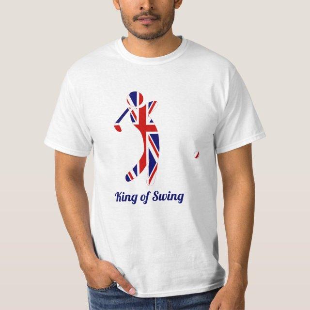 King of Swing | Union Jack Flag Golfer Silhouette T-Shirt