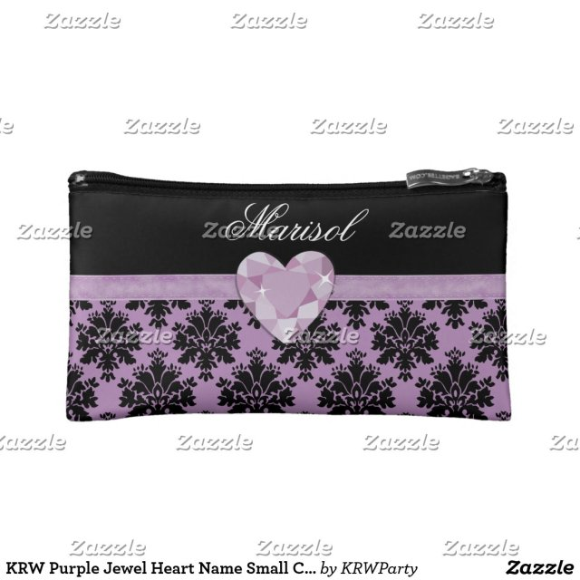 KRW Purple Jewel Heart Cosmetic Bag