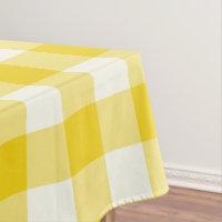 Lemon Yellow Gingham / Buffalo Check Tablecloth