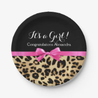 Leopard Hot Pink Bow Its a Girl Safari Baby Shower 7 Inch Paper Plate