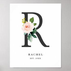 Letter R Monogram Watercolor Peach Florals Nursery Poster