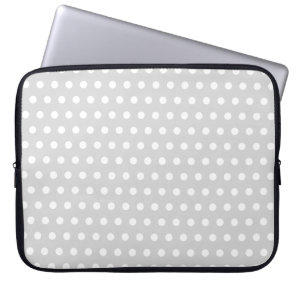 Light Grey and White Polka Dot Pattern. Laptop Sleeve