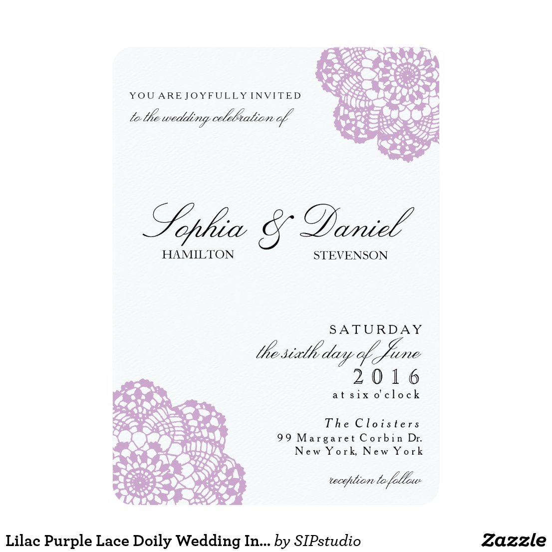 Lilac Purple Lace Doily Wedding Invitation