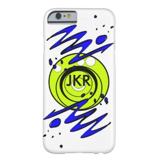 Lime circles and blue squiggles monogram case