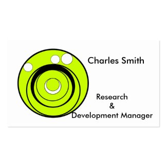Lime green, black and white circles business cards