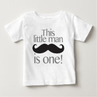 Little Man Moustache Birthday Shirt