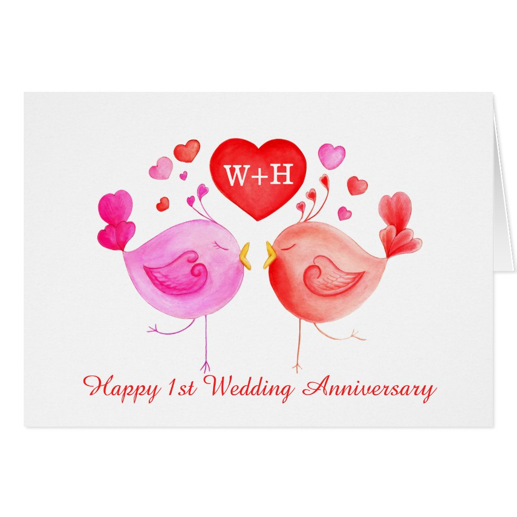 Love birds 1st Anniversary card