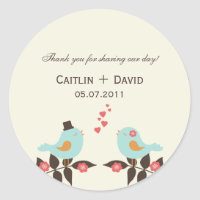 Love Birds Wedding Favor Stickers/Envelope Seals Classic Round Sticker