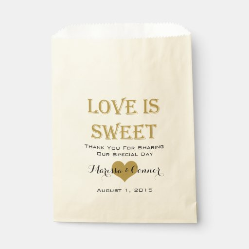 Love Is Sweet Black and Gold Wedding Bags