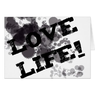 Love Life black/gray spots splurges splats text