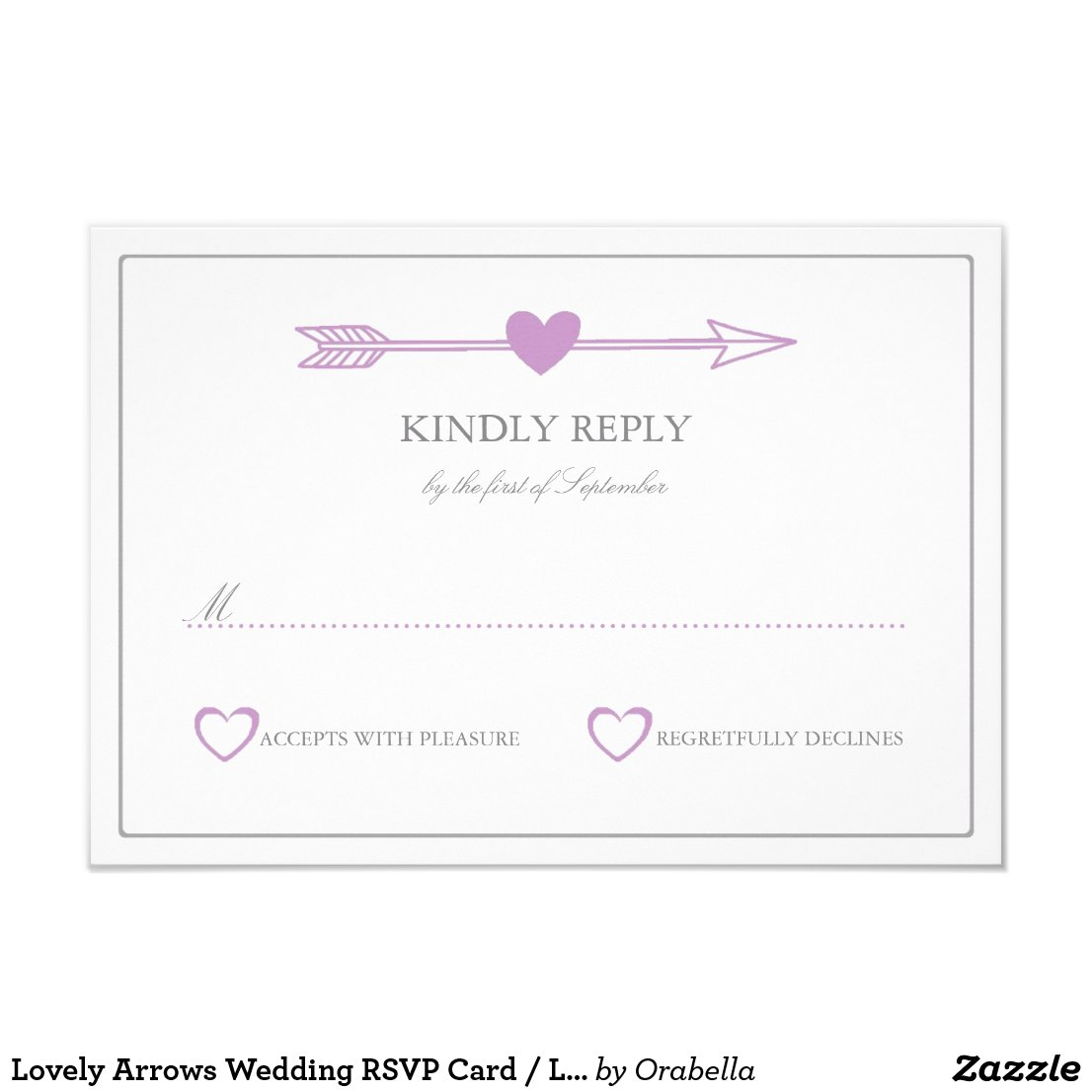Lovely Arrows Wedding RSVP Card / Lilac and Grey
