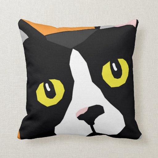 Lucas the cat pop art-style cushion