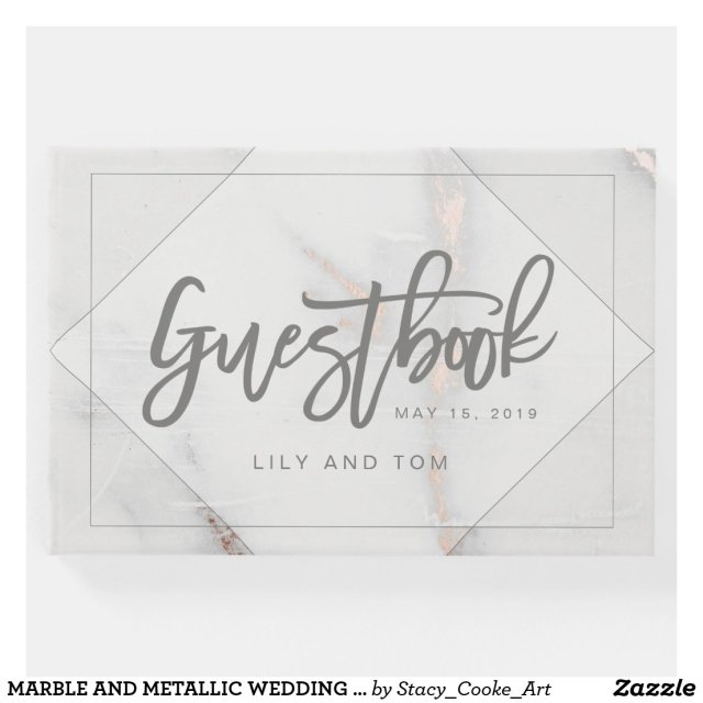 MARBLE AND METALLIC WEDDING GUESTBOOK