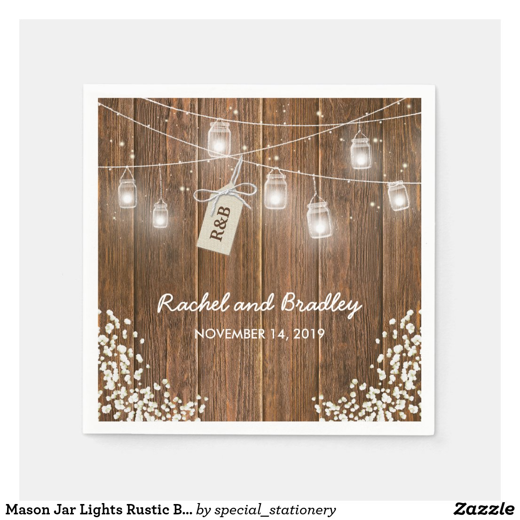 Mason Jar Lights Rustic Babys Breath Wedding Paper Napkin