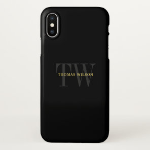 Men's Monogram Modern Minimalist Black & Grey iPhone X Case