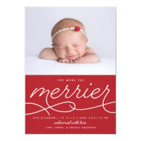 Merrier Newborn First Christmas Birth Announcement