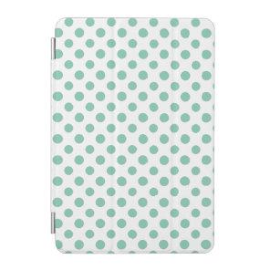 Mint Green White Polka Dots Pattern iPad Mini Cover