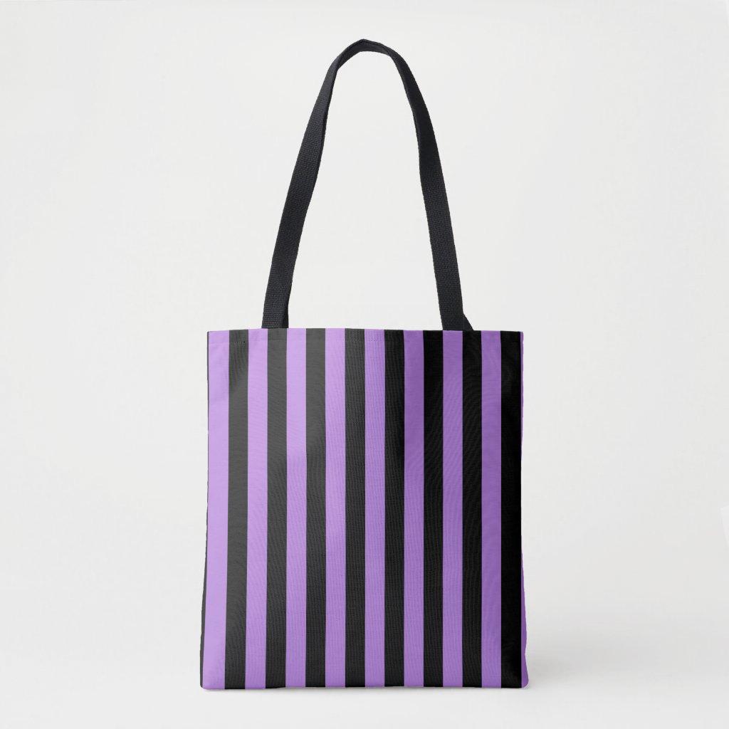 Modern Black and Lavender Purple Stripe Pattern Tote Bag