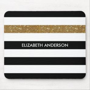 Modern Black Stripes FAUX Gold Glitz and Name Mouse Mat
