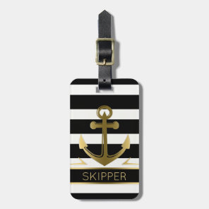 Modern Black White Stripes Gold Nautical Anchor Luggage Tag