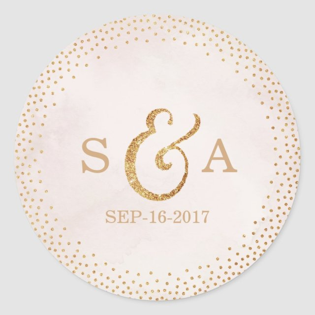 Modern blush glitter rose gold wedding monogram sticker