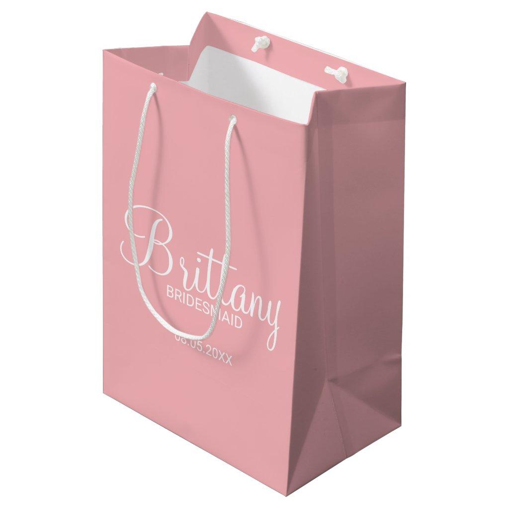 Modern Blush Pink Personalised Gift Bag