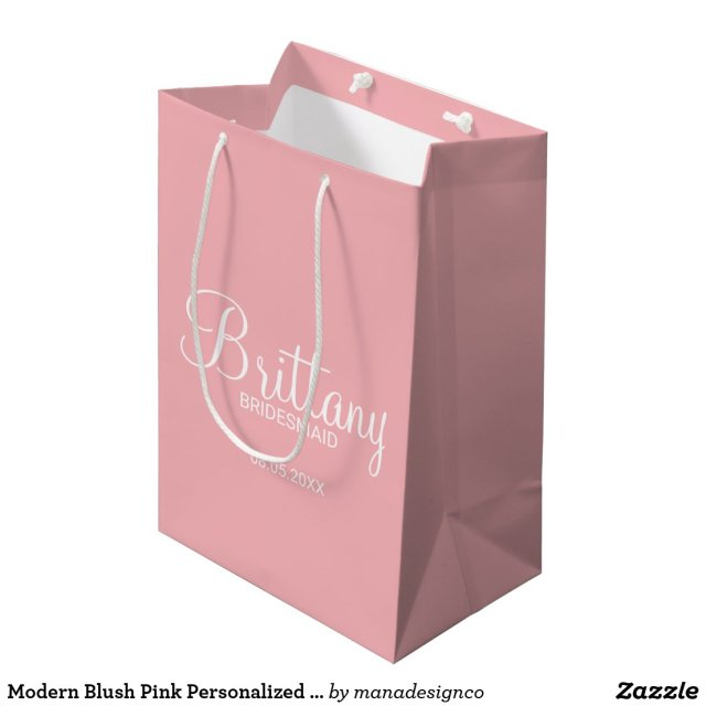 Modern Blush Pink Personalised Gift Bag