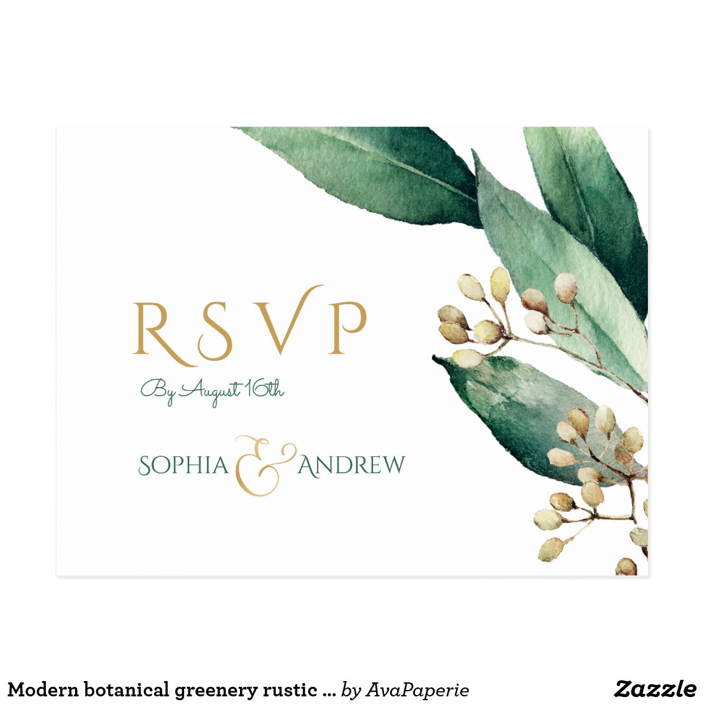 Modern botanical greenery rustic wedding RSVP