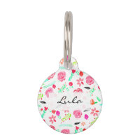 Modern bright floral watercolor botanical pattern pet tag