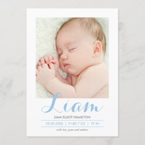 Modern Calligraphy Blue | Birth Announcement